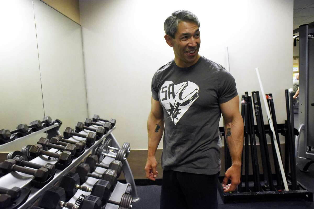 Mayor-elect Ron Nirenberg takes a momentary break from a workout at the Barshop Jewish Community Center.