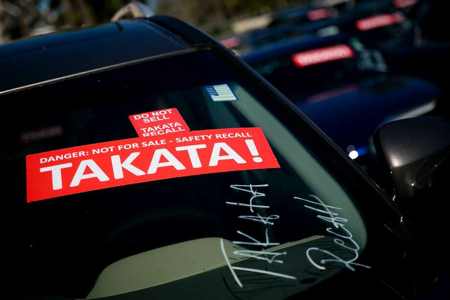 FILE-- Cars with Takata air bag recalls pile up on a lot at an auto dealership in West Palm Beach, Fla., Jan. 25, 2017. The Tokyo Stock Exchange suspended trading in shares of Takata on June 16 after a Japanese newspaper reported that the company was preparing to file for bankruptcy. The fate of the company has been in doubt for some time as it deals with the fallout from the recall of millions of its airbags, some of which have burst violently. (Scott McIntyre/The New York Times) Photo: SCOTT MCINTYRE, NYT