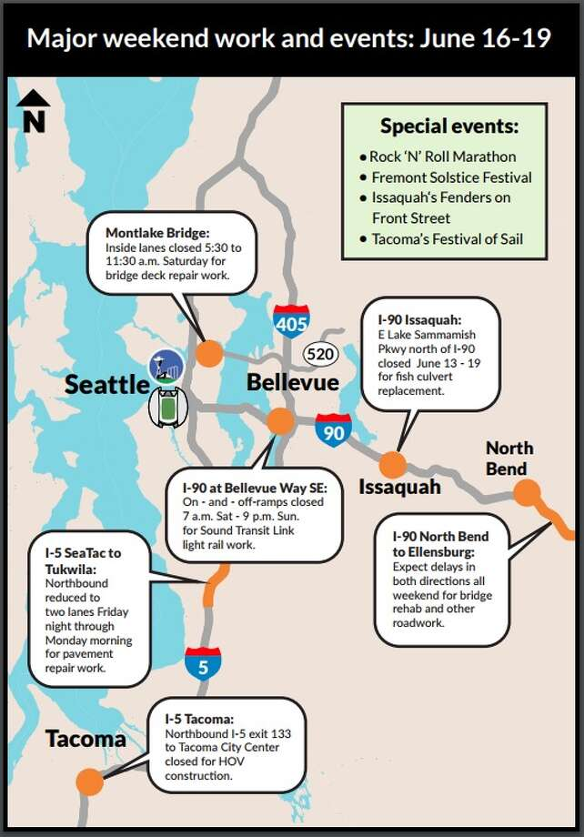 This map from WSDOT shows some of the various projects and closures that could impact traffic around the Puget Sound this weekend. Photo: WSDOT