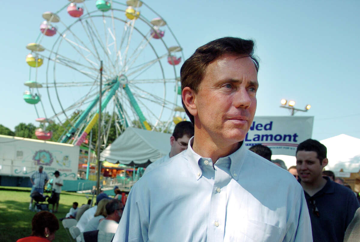 FILE PHOTO - 08/06/06 Ned Lamont, Democratic Senate candidate challenging Joe Lieberman in the Connecticut Democratic primary, campaigns Sunday at the Orange Volunteer Firemen's carnival.
