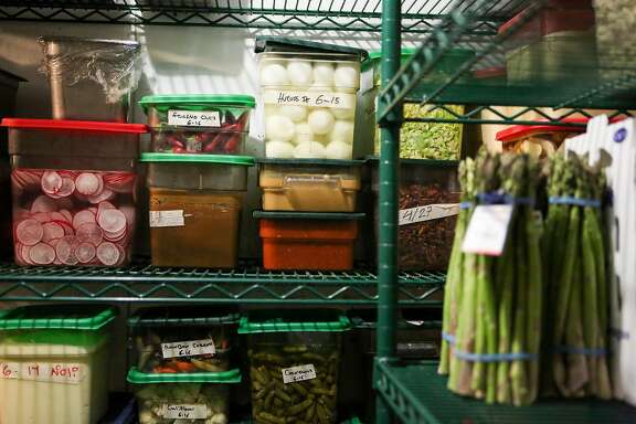 Produce that was ordered via BlueCart is seen in the walk-in refrigerator at Per Diem restaurant on Friday, June 16, 2017 in San Francisco, Calif.