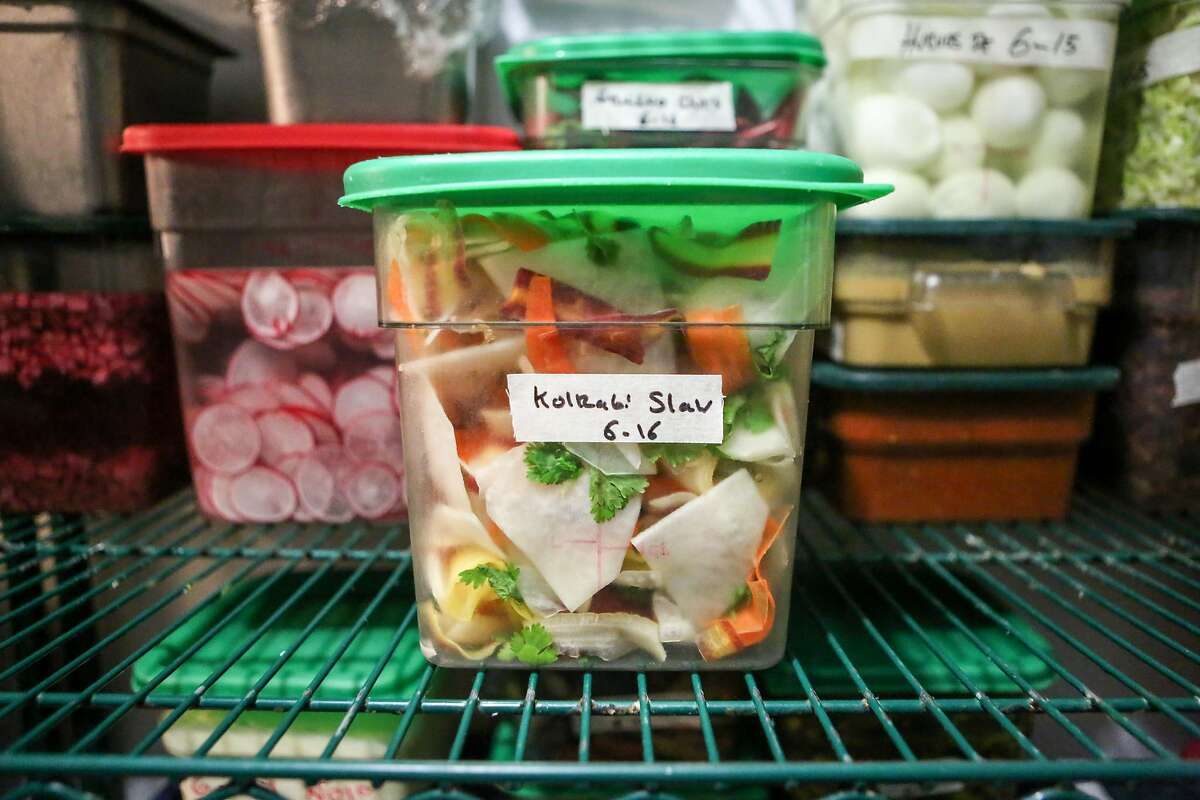 A slaw that was made from produce ordered via BlueCart is seen in the walk-in refrigerator at Per Diem restaurant on Friday, June 16, 2017 in San Francisco, Calif.