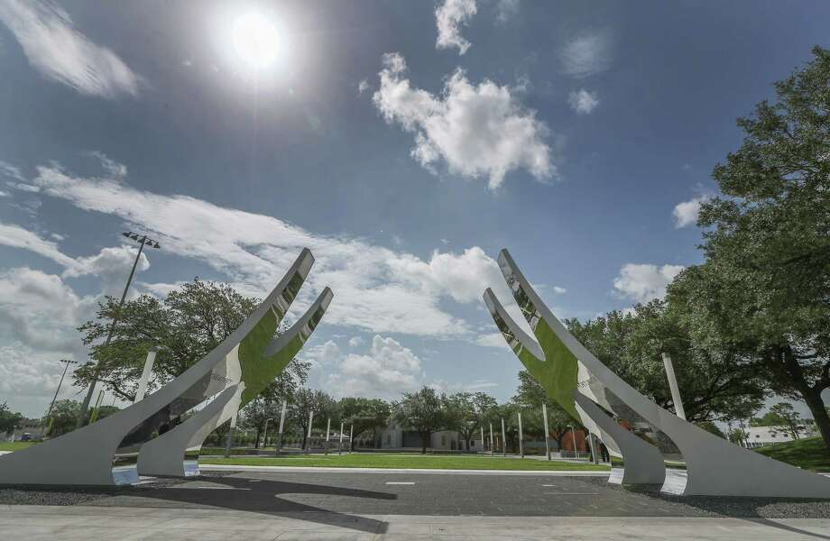 Emancipation Park outdoor sculpture photographed Tuesday, June 13, 2017, in Houston. The building was designed by the Freelon Group, now Perkins & Will architects. Freelon's projects include the Smithsonian Institution National Museum of African American History and the Culture and the National Center for Civil and Human Rights. ( Steve Gonzales  / Houston Chronicle ) Photo: Steve Gonzales, Houston Chronicle / © 2017 Houston Chronicle