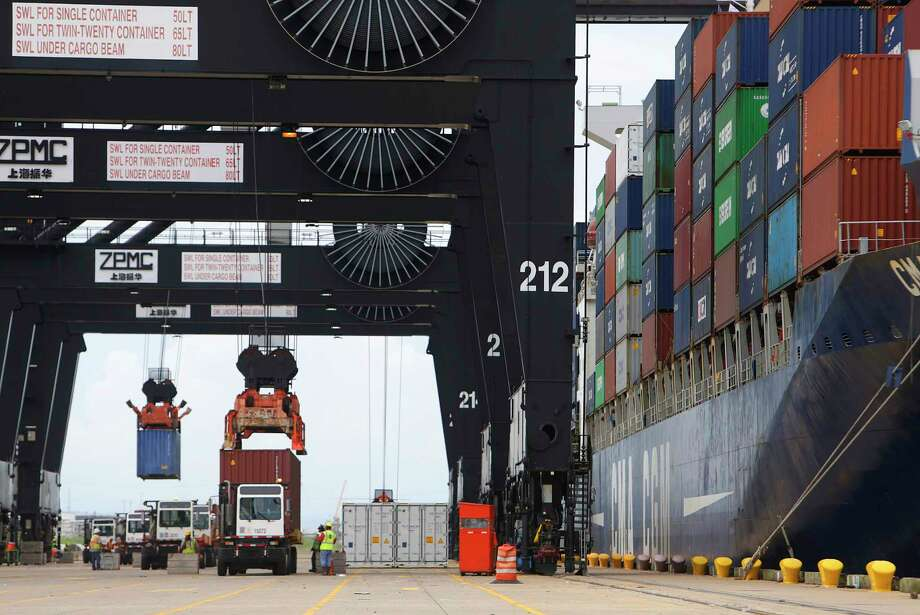 Cargo moves through the Bayport container terminal. The Port of Houston is one of the busiest ports in the United States and a major contributor to the economy of Southeast Texas.  Photo: Mark Mulligan, Staff / © 2016 Houston Chronicle