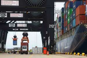 Cargo moves through the Bayport container terminal. The Port of Houston is one of the busiest ports in the United States and a major contributor to the economy of Southeast Texas.