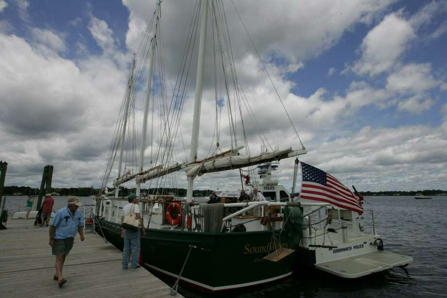 """""""Experience the Sound"""" returns to Greenwich. As in previous years, participants may view the SoundWaters schooner and Greenwich Police boat as they did here in 2015. Photo: Matthew Brown / Hearst Connecticut Media File Photo / Connecticut Post Freelance"""