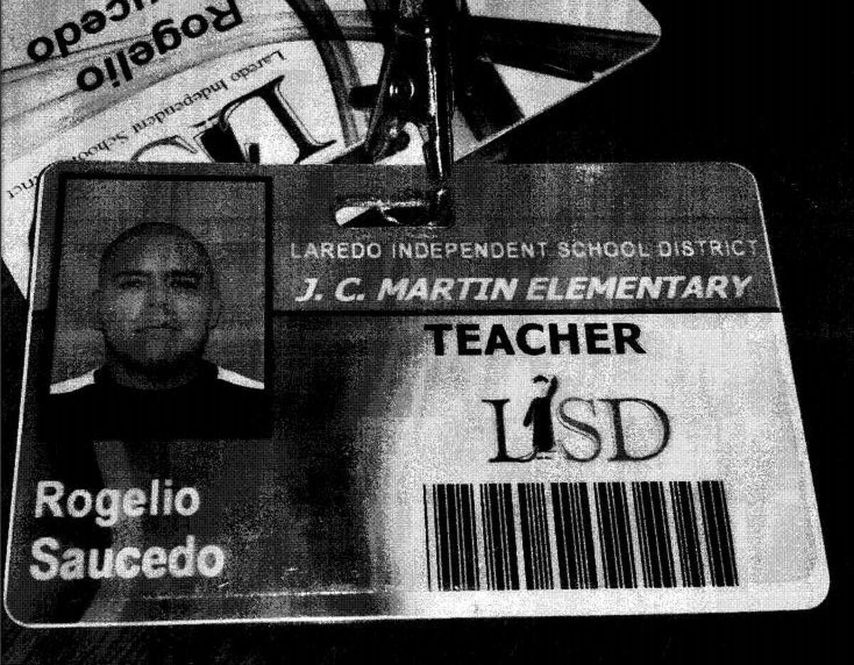 Rogelio Saucedo's teacher ID is pictured.