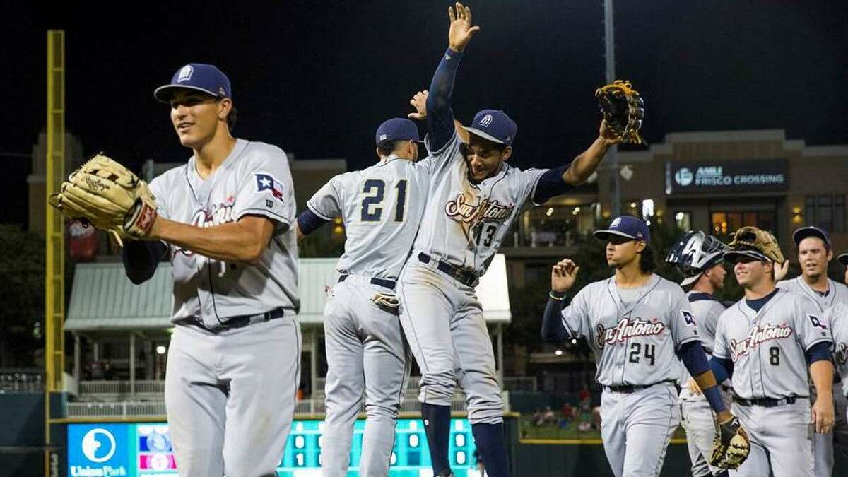 The San Antonio Missions celebrate clinching the first half title of the Texas League's South Division late Thursday night.