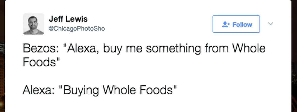 Twitter users are saying some funny, clever things about Amazon buying Whole Foods for $13.7 billion on June 16, 2017.