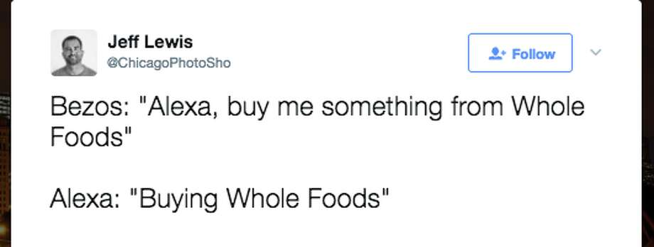 Twitter users are saying some funny, clever things about Amazon buying Whole Foods for $13.7 billion on June 16, 2017. Photo: Twitter Screen Grab