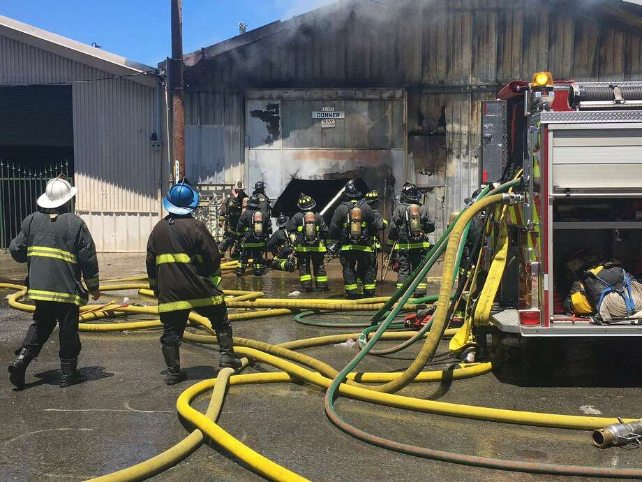 Firefighters battled a blaze at a warehouse on Friday. Photo: San Francisco Fire Department