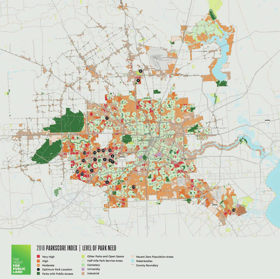 "A map from the Trust for Public Land shows where Houston has ""park deserts."" Photo: Cite Magazine"