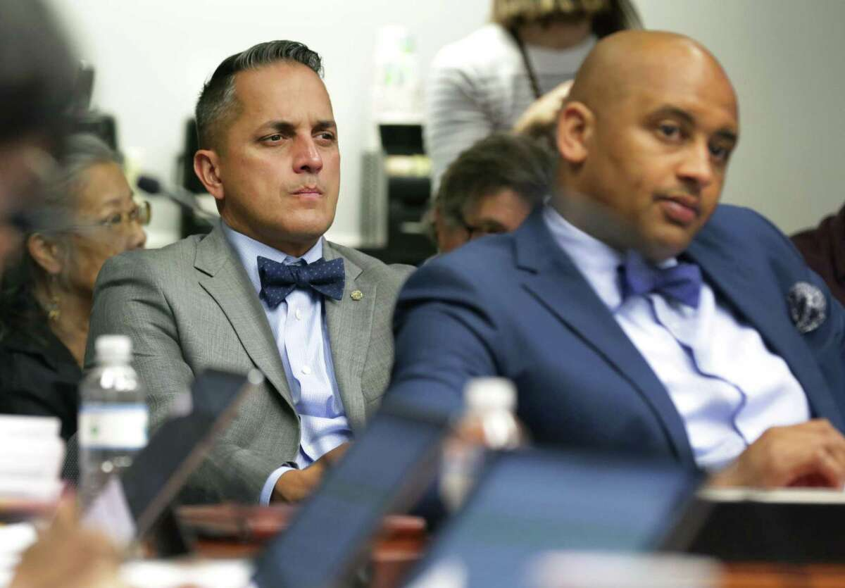 Councilman elect Greg Brockhouse, left, attends the final B session meeting for the current council in the Municipal Complex on Wednesday, June 14, 2017. Outgoing member Alan Warrick is at right.