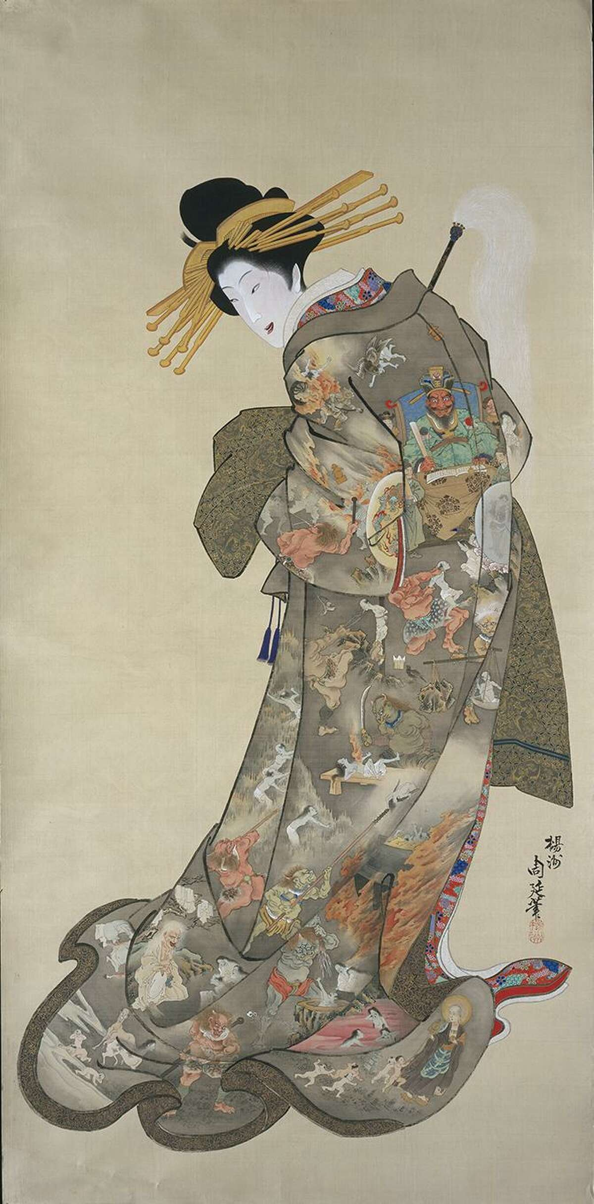 """""""The Hell Courtesan (Jigoku-dayu)"""" is a Japanese hanging scroll from the latter half of the 19th century. It is one of the works in """"Heaven and Hell: Salvation and Retribution in Pure Land Buddhism"""" at the San Antonio Museum of Art."""