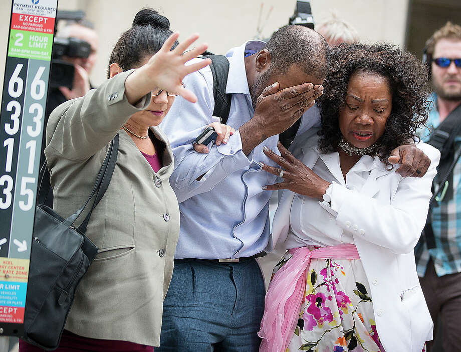 Family and friends of Valerie Castile and Philando Castile walked out of the courthouse after the verdict was read.  Photo: Elizabeth Flores, MBO / Star Tribune