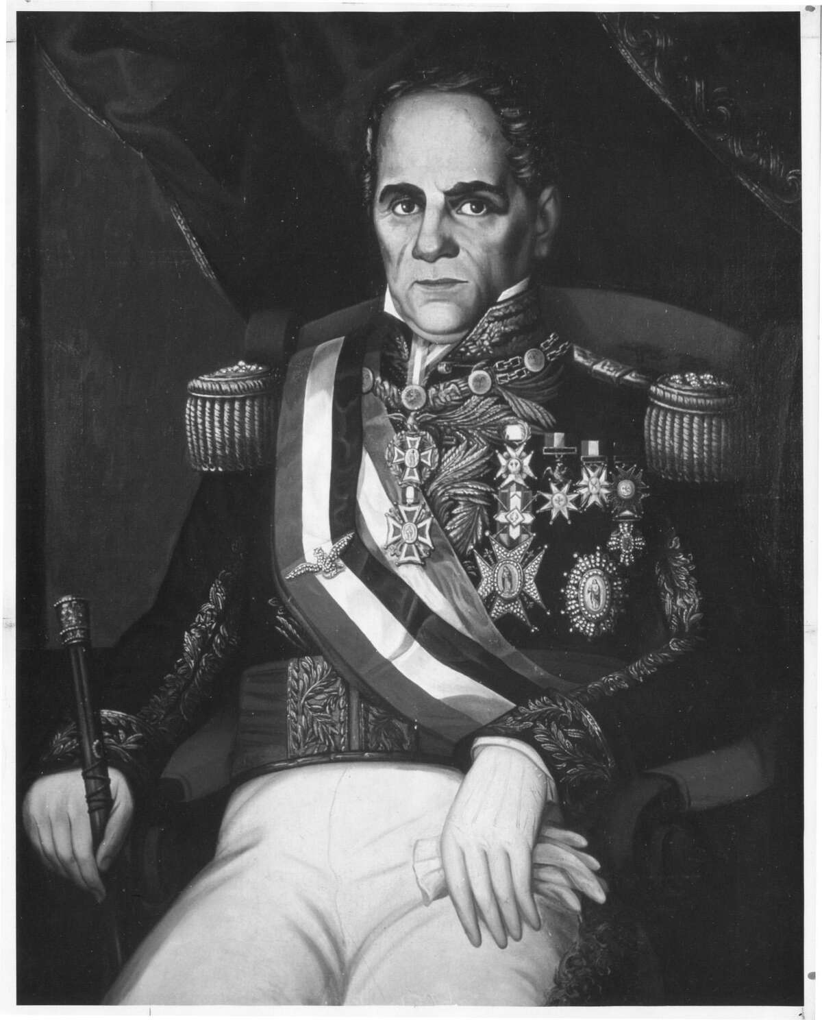 This is a black-and-white photo of a color oil-on-canvas painting of Gen. Antonio López de Santa Anna that is on display at the San Jacinto Museum of History in La Porte. Date is unknown.