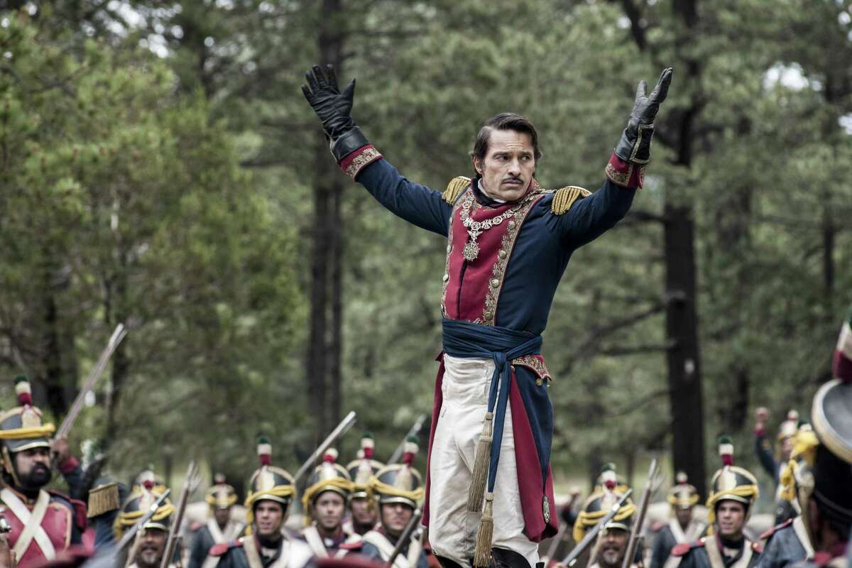 """Santa Anna (played by Olivier Martinez) marshals his troops in """"Texas Rising,"""" a series that aired in 2015 on the History channel. Santa Anna is a popular character in historic films."""