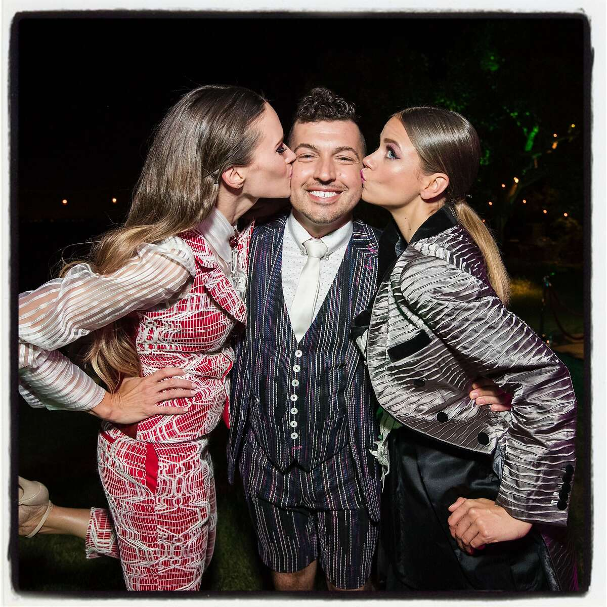 Yulia Riera (left) with fashion designer Jake Wall and Giana Ciapponi at the Hotbed Gala. June 10, 2017.