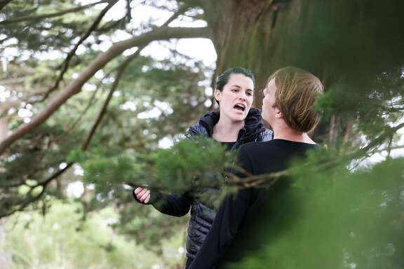 """Britt Lauer and John Steele, Jr. rehearse for �Midsummer of Love�, an outdoor site-specific adaptation of Shakespeare's """"A Midsummer Night's Dream"""" on Strawberry Hill in Golden Gate Park on Thursday, June 1, 2017 in San Francisco, Calif."""