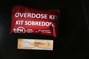 A box of the opioid antidote Naloxone, also known as Narcan, sits on display during a family addiction support group on March 23, 2016 in Groton, CT.
