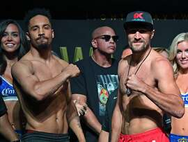 LAS VEGAS, NV - JUNE 16:  WBA/IBF/WBO light heavyweight champion Andre Ward (L) and former champion Sergey Kovalev pose during their official weigh-in at the Mandalay Bay Events Center on June 16, 2017 in Las Vegas, Nevada. Ward will defend his titles against Kovalev on June 17 in Las Vegas.  (Photo by Ethan Miller/Getty Images)