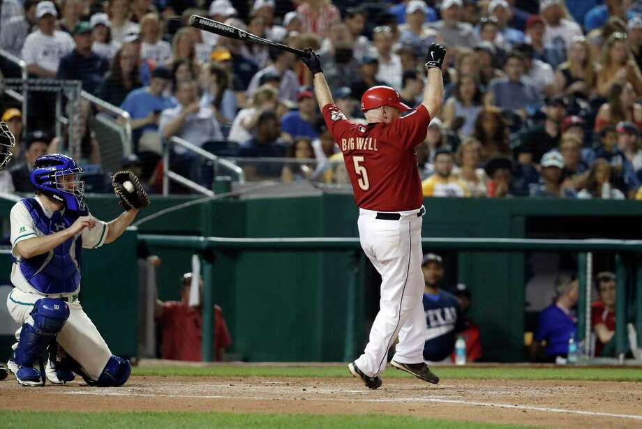 Rep. Kevin Brady, R-Texas, strikes out during the Congressional baseball game, Thursday, June 15, 2017, in Washington. The annual GOP-Democrats baseball game raises money for charity. The democrats won 11-2. (AP Photo/Alex Brandon) Photo: Alex Brandon, STF / Copyright 2017 The Associated Press. All rights reserved.