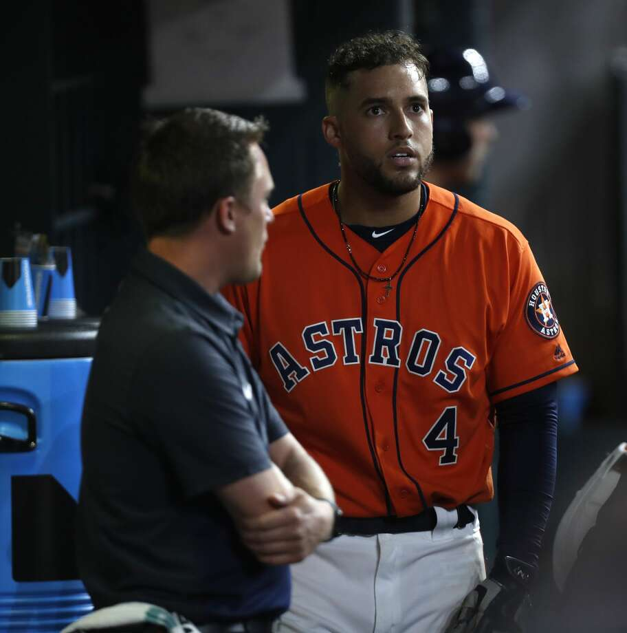 Houston Astros center fielder George Springer (4) reacts after being called out on strikes during the eighth inning of an MLB game at Minute Maid Park, Friday, June, 16, 2017.   ( Karen Warren / Houston Chronicle ) Photo: Karen Warren/Houston Chronicle