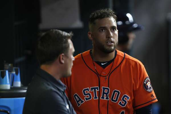 Houston Astros center fielder George Springer (4) reacts after being called out on strikes during the eighth inning of an MLB game at Minute Maid Park, Friday, June, 16, 2017.   ( Karen Warren / Houston Chronicle )