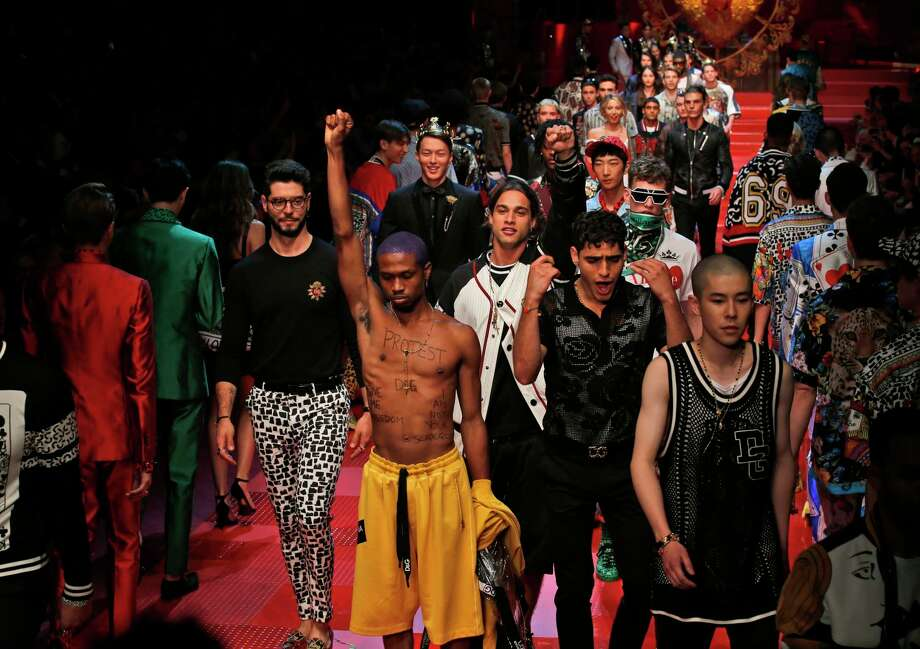 Models wear creations from Dolce&Gabbana's men's Spring-Summer 2018 collection, presented in Milan, Italy, Saturday, June 17, 2017. Photo: Antonio Calanni, AP / Copyright 2017 The Associated Press. All rights reserved.