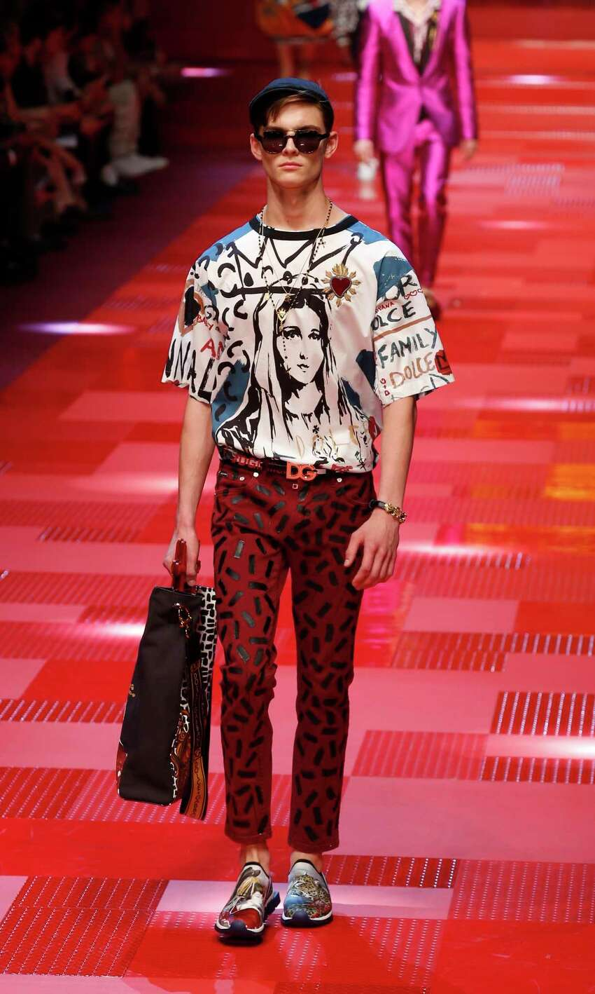 A model wears a creations from Dolce&Gabbana's men's Spring-Summer 2018 collection, presented in Milan, Italy, Saturday, June 17, 2017.