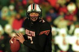 Shelton High School quarterback Dan Orlovsky looks to throw in the 2000 Class LL hampionship game against Greenwich. Shelton won the game 22-8.