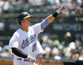 Oakland Athletics' Ryon Healy (25) points to the crowd after hitting a solo home run against the New York Yankees during the second inning of a baseball game on Saturday, June 17, 2017 in Oakland, Calif. (AP Photo/Tony Avelar)