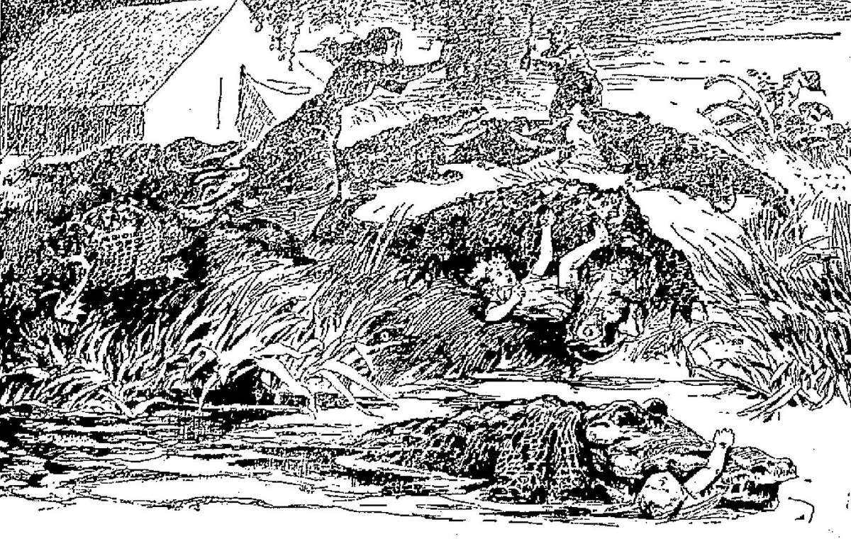 """An engraving, which ran in The San Antonio Light in 1899, depicts an alleged event of an alligator attack at Lake Espontas, near San Antonio, in 1898, which may have been one of the first """"fake news"""" reports. At least one news account claimes Paul Nagele and family were attacked by a number of alligators. Two children died. His wife was injured. Using an axe, Nagele drove off the reptiles, killing three and wounding five more."""