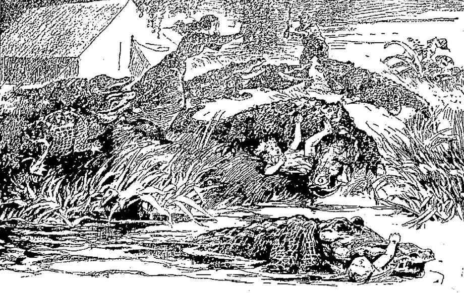 "An engraving,  which ran in The San Antonio Light in 1899, depicts an alleged event of an alligator attack at Lake Espontas, near San Antonio, in 1898, which may have been one of the first ""fake news"" reports. At least one news account claimes Paul Nagele and family were attacked by a number of alligators. Two children died. His wife was injured. Using an axe, Nagele drove off the reptiles, killing three and wounding five more. Photo: Copyright 2007 Heritage Microfilm, Inc. And Newspaperarchive.com"
