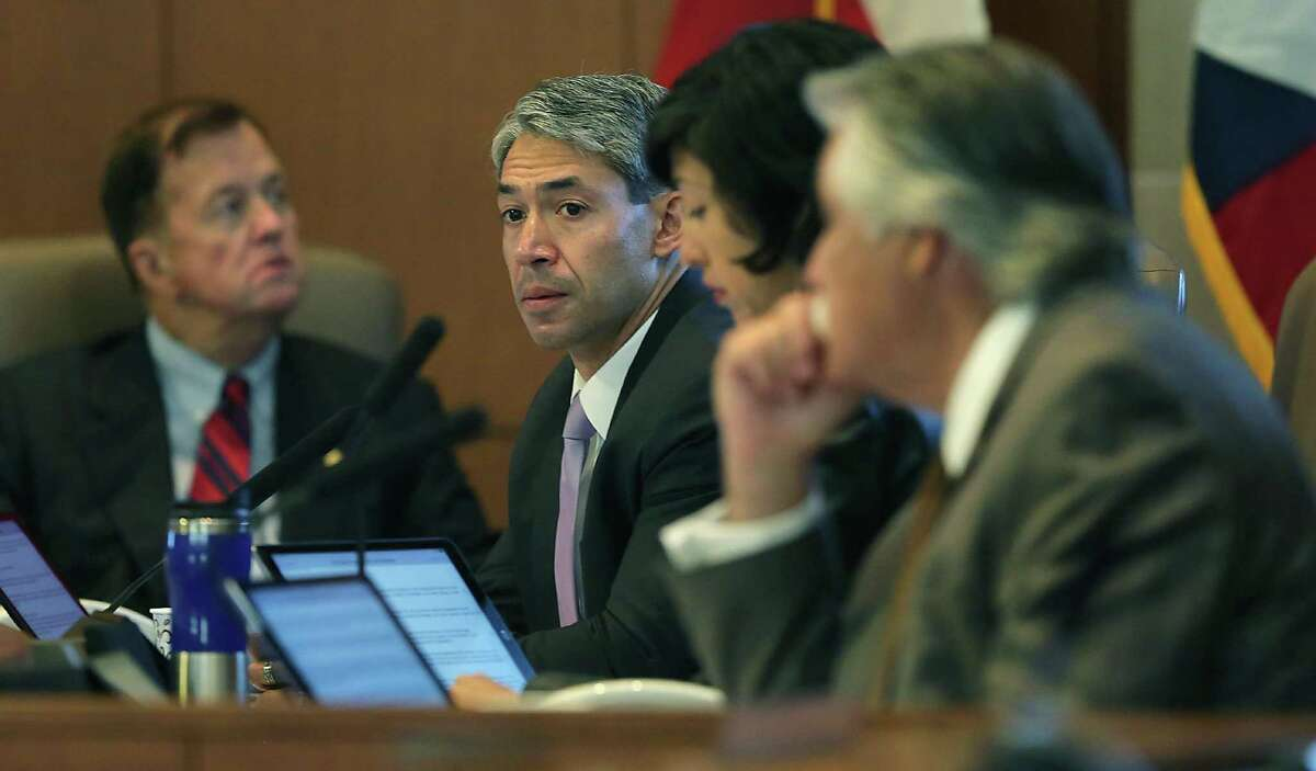 Mayor elect Ron Nirenberg attends his last council meeting as a councilman, in the Municipal Complex on Wednesday, June 15, 2017. Joe Krier, left, Ray Lopez, right, and Ana Sandoval also attended.