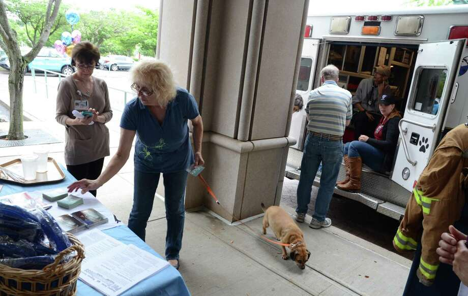 "Visiting with her dog Melinda, Carol Zolovchik, of Ansonia, grabs some pamphlets during a meet-and-greet with the Connecticut Emergency Animal Response Service (EARS) at the hospital in Derby, Conn., on Saturday June 17, 2017. EARS is a team of volunteer first responders trained for rapid-response to ""all-hazard"" animal emergencies within Connecticut. For more information about EARS, visit www.earsct.org. The event was hosted by People and Animals Working in Spirit (P.A.W.S.), Griffin Hospital's Pet Therapy Program. P.A.W.S. founder Ruth Tuccio, stands at left during the event. Photo: Christian Abraham / Hearst Connecticut Media / Connecticut Post"