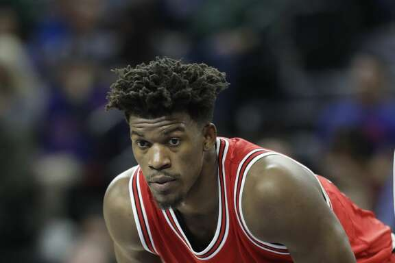 Chicago Bulls forward Jimmy Butler waits on a free throw during the second half of an NBA basketball game against the Detroit Pistons, Monday, March 6, 2017, in Auburn Hills, Mich. (AP Photo/Carlos Osorio)