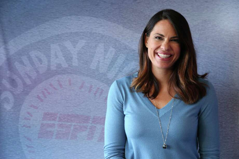 Jessica Mendoza accompanies Dan Shulman and Aaron Boone in the ESPN booth for Sunday night games. She's the first female analyst for Major League Baseball and will be on hand for the Astros' Father's Day telecast. Photo: Allen Kee / ESPN Images, Staff / 2016, ESPN Inc.