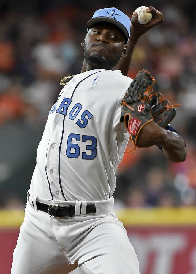Houston Astros starting pitcher David Paulino delivers during the first inning of a baseball game against the Boston Red Sox, Saturday, June 17, 2017, in Houston. (AP Photo/Eric Christian Smith) Photo: Eric Christian Smith/Associated Press