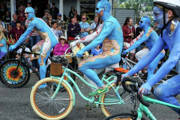 Naked cyclists lead the Fremont Solstice Parade on Saturday, June 17, 2017.