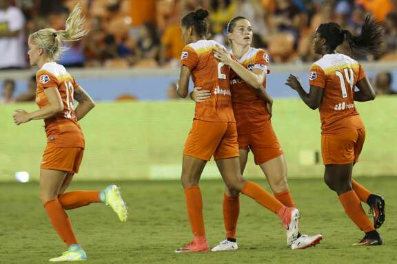 Houston Dash celebrating with Houston Dash defender Poliana Barbosa Medeiros (2) scoring during the second half of the game at BBVA Compass Stadium Saturday, June 17, 2017, in Houston. The Dash lost to Pride 4-2. ( Yi-Chin Lee / Houston Chronicle )
