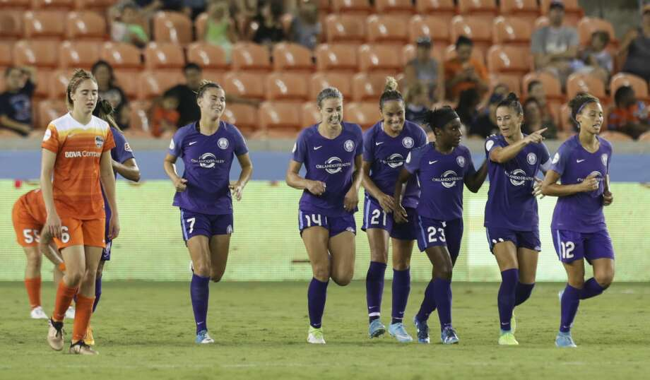 Orlando Pride players celebrating Houston Dash forward Nichelle Prince's (14) goal during the second half of the game at BBVA Compass Stadium Saturday, June 17, 2017, in Houston. The Dash lost to Pride 4-2. ( Yi-Chin Lee / Houston Chronicle ) Photo: Yi-Chin Lee/Houston Chronicle