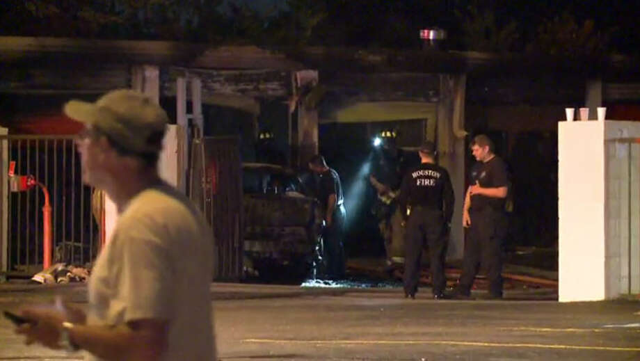 A fire broke out at a Public Storage location after an allegedly drunk man drove into one of the units. Photo: Metro Video