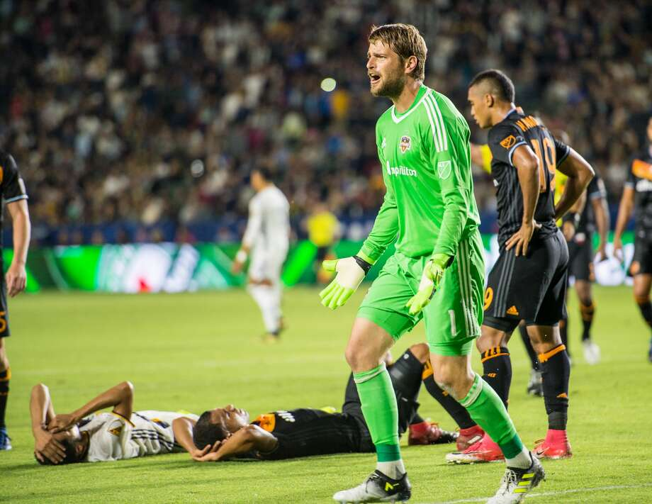 CARSON, CA - JUNE 17: Tyler Deric #1 of Houston Dynamo complains as two players are down injured during the Los Angeles Galaxy's MLS match against Houston Dynamo at the StubHub Center on June 17, 2017 in Carson, California.  The match ended in a 2-2 draw. (Photo by Shaun Clark/Getty Images) Photo: Shaun Clark/Getty Images
