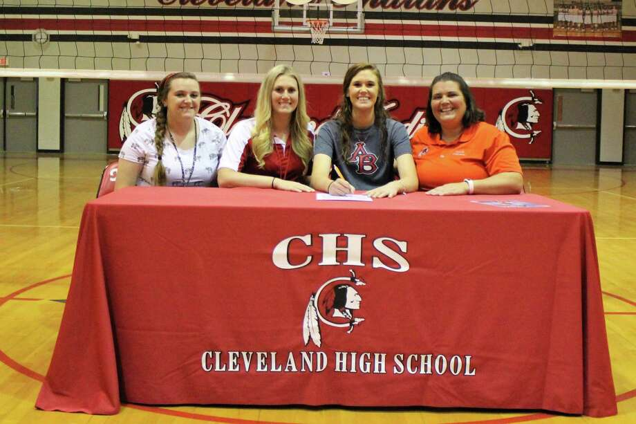 Kattie McCaffery has signed a letter of intent to play volleyball in the fall for Arlington Baptist College in Arlington. She is a hard working athlete that has a heart for the Lord and will continue her passions while gaining her degree, according to her coach, Talicia Johnson. Her plans are to major in Education and teach high school English and coach. Pictured left to right are Coach Campbell, Coach Howington, McCaffery and Coach Johnson. Photo: Submitted