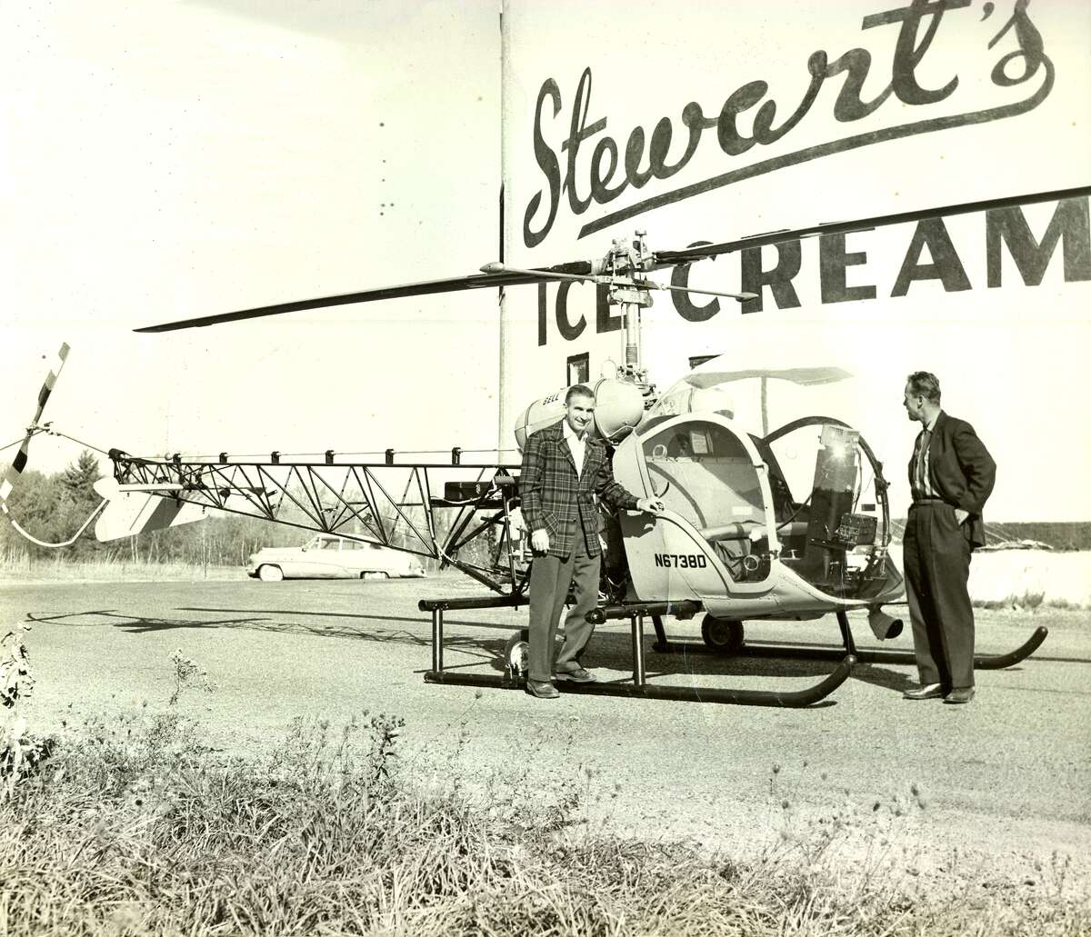 1950s: A Stewarts Shops helicopter dropped leaflets called