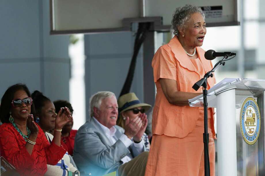 Jacqueline Bostic, the great-granddaughter of Emancipation Park co-founder the Rev. Jack Yates, told a crowd of hundreds at the rededication of the Third Ward landmark on Saturday that it symbolizes the spirit of community empowerment. (Michael Ciaglo / Houston Chronicle) Photo: Michael Ciaglo, MBO / Michael Ciaglo