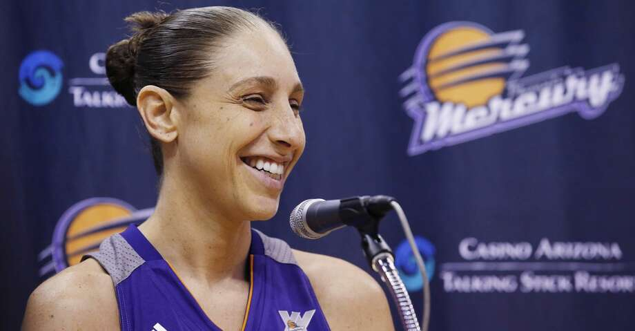 FILE - In this May 9, 2016, file photo, Phoenix Mercury's Diana Taurasi smiles as she speaks during a news conference at the team's basketball media day, in Phoenix. Photo: Ross D. Franklin/Associated Press