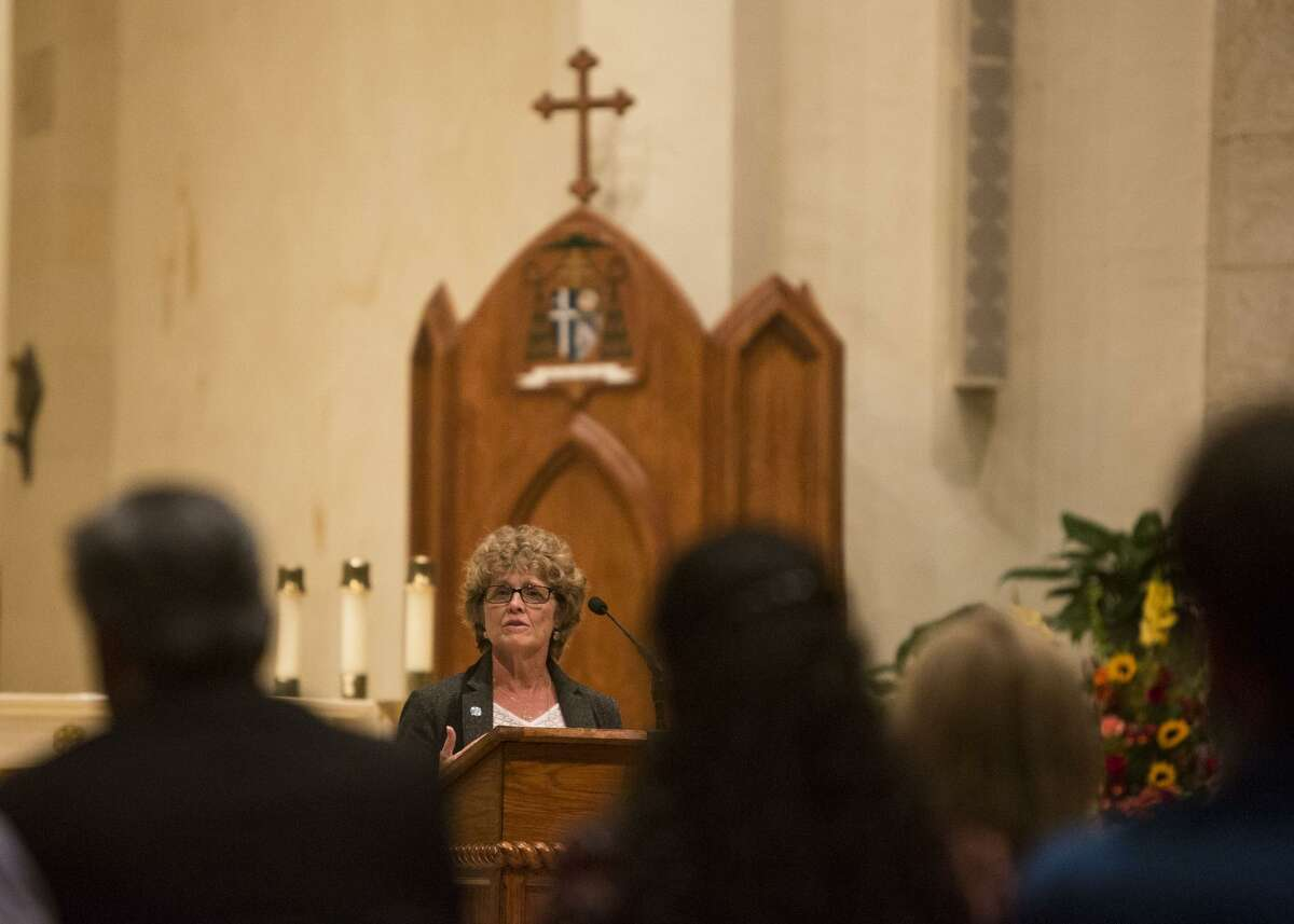 The Rev. Ann Helmke, shown in 2015, is a leader in the interfaith community and is often in the front of the room at meetings involving social justice.