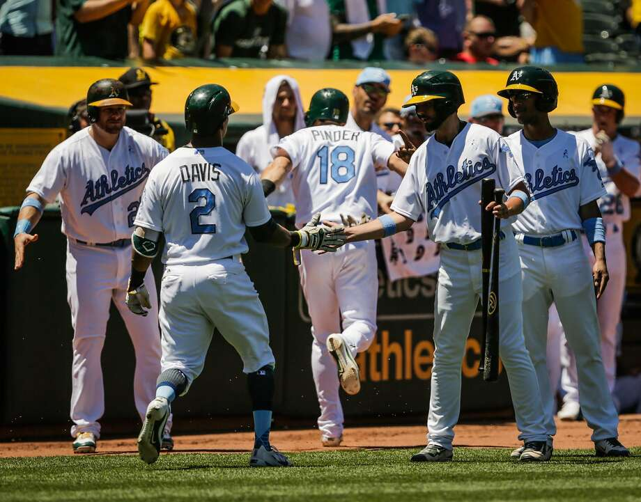 Oakland Athletics' Khris Davis (2) is congratulated by his team after hitting a two-run home run against the New York Yankees during a game at Oakland Alameda Coliseum in Oakland, California, on Sunday, June 18, 2017. Photo: Gabrielle Lurie, The Chronicle